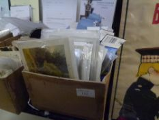A cardboard box containing a quantity of Victorian and later greetings cards, various subjects
