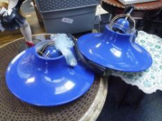 "A pair of retro blue enamel hanging lights of ""fisherman's"" lamp type"