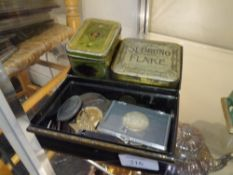 A tin containing a group of medals and coins including an Edward VIII Coronation medal, Gardening