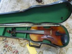 """A full size violin, early 20th century, with two piece back, bearing label """"R Murray Edinburgh"""