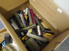 A box containing a large quantity of Marklin HO gauge locomotives and rolling stock, unboxed