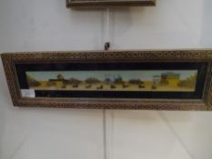 An Indian watercolour of a polo match, on ivory wafer, in an inlaid frame