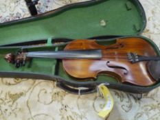 A full size violin, c 1900 with two piece back, cased 36.5cm