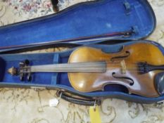 """A full size German violin, late 19th century, bearing paper label and stamped """"Hopf """", cased with"""