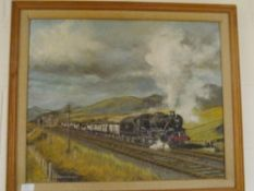 Gordon Cargill (20th Century), Study of a Steam Locomotive in a Landscape, oil on board, framed