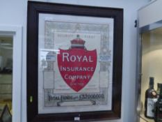 """An early 20th century Royal Insurance Poster """"Security First"""" printed by R & R Clark Edinburgh in an"""