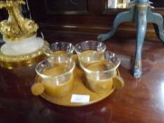 A Schott & Gen Mainz teak and glass set of four cups on tray c. 1970