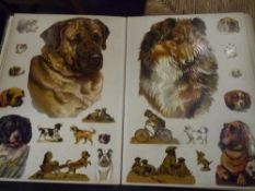 A leather-bound album of Victorian and later scraps, various subjects including dogs, birds,