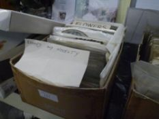 A cardboard box containing a quantity of Victorian and later greetings cards, subjects including