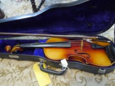 A modern full size Czech violin with two piece back and paper label, cased with bow 37.5cm