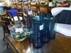 A set of six vintage turquoise glass highball glasses together with two Caithness Glass vases