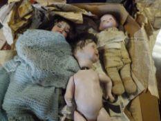 Three bisque head dolls, Armand Marseille