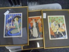 """After Carlos Bady, a set of three coloured prints """"Mado Babille"""" etc, framed"""
