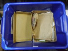A box containing an early 20th century boy's World stamp album stamp, collecting accessories,