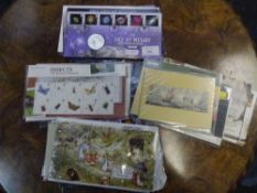 A large group of Royal Mail and other collector stamp sets including Harry Potter, Beatles, Sky at