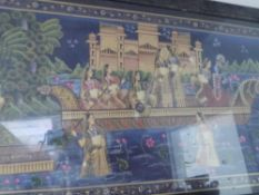 A large Indian coloured print of female courtiers and musicians on the Ganges, framed