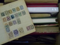 A box of mixed stamps albums and stock books (23)