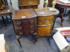 A walnut bowfronted bedside table on Queen Anne legs together with another of similar type (2)