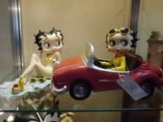 Two Betty Boop composition figures Sunbathing and Open Top car by Fleischer etc