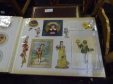 A gilt-tooled album of Victorian and later scraps and greetings cards