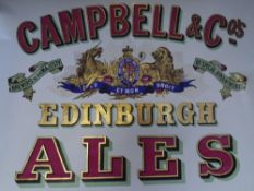 """A rare pub advertising poster, """"Campbells Edinburgh Ales"""", c 1900, applied with gold leaf, printed"""