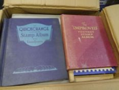 A box containing a large quantity of World stamp albums covers etc (14)