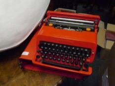 Ettore Sottsass (1917-2007) for Olivetti, a Valentine portable typewriter, in red, with original