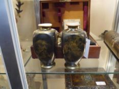A pair of Japanese Satsuma pottery vases c 1920 each glazed in brown and highlighted with gilding to