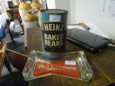 """A Heinz Baked Beans """"Dinner Money"""" collection box and a Budweiser pub ashtray (2)"""