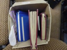 A box containing a group of stamp albums and loose stamps, GB, British Empire and World, early and