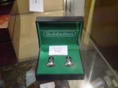 A pair of Subbuteo silver plated cufflinks, cased