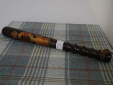 A George V painted and gilt turned lignum vitae truncheon inscribed Special Constable Kirkcaldy