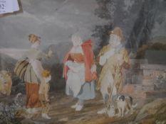 "Scottish School, 19th century ""A Country Natter"", watercolour, bearing Aitken Dott label verso """