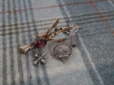 A Scottish silver bird's claw brooch, Ward Brothers, Edinburgh 1964, mounted with a stone of
