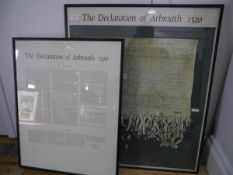 A framed print of the Declaration of Arbroath, together with a framed translation of the