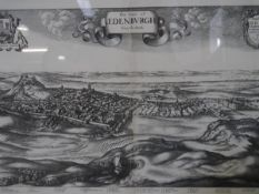 A facsimile of Hollar's panorama of The Citie of Edinburgh from the South, framed, old labels verso.