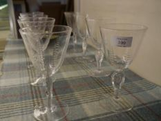 A set of eight Edinburgh Crystal goblets, each bucket bowl with graduated oval-cut bands on a flat-