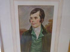 After Alexander Nasmyth, Portrait of Robert Burns, watercolour, signed Burnett and dated 1963,