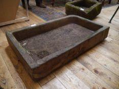 A stoneware sink, now a garden planter 84cm by 50m