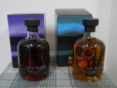 Two bottles of Balblair Highland Single Malt Scotch Whisky, 1975 and 1997, boxed