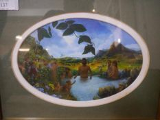 James Thomson (Scottish, 20th Century), Baptism, oil, in the oval, framed, inscribed verso. 17cm