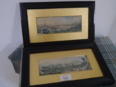 A pair of Edinburgh panoramas, watercolour, c. 1830, one a view of the city from the Castle, the