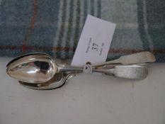 Four 19th century Scottish Provincial Silver teaspoons, Peter Ross, Aberdeen, c. 1820, fiddle