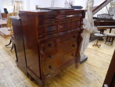 """A 19th century mahogany """"Scotch"""" chest, with frieze drawer above three deep hat drawers above"""