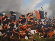F.E. Colegrave (British, 19th Century), A Highland Regiment Charge at Waterloo, signed lower right