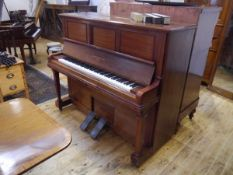 A John Broadwood & Sons mahogany cased player piano (pianola), c. 1900, the iron frame case with
