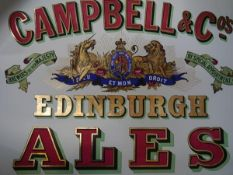 "A rare pub advertising poster, ""Campbells Edinburgh Ales"", c 1900, applied with gold leaf, printed"