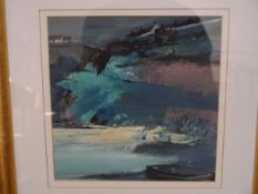 """Mary Davidson (Scottish b. 1955), """"Catterline - Homage to (Joan) Eardley"""", signed, oil, framed. 24cm"""
