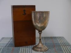 """A Victorian silver goblet, Birmingham 1876, bearing inscriptions for """"St Marys United Free Church"""