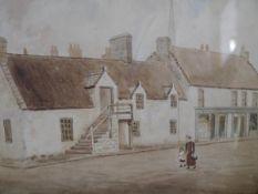 Scottish School, late 19th century, Village Street, signed J. Alexander lower right, watercolour,